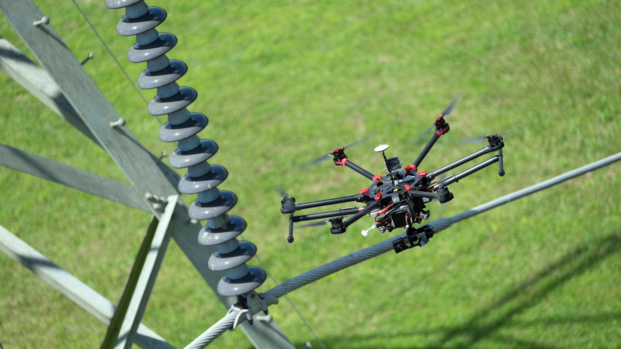 drones working energy companies survey power lines