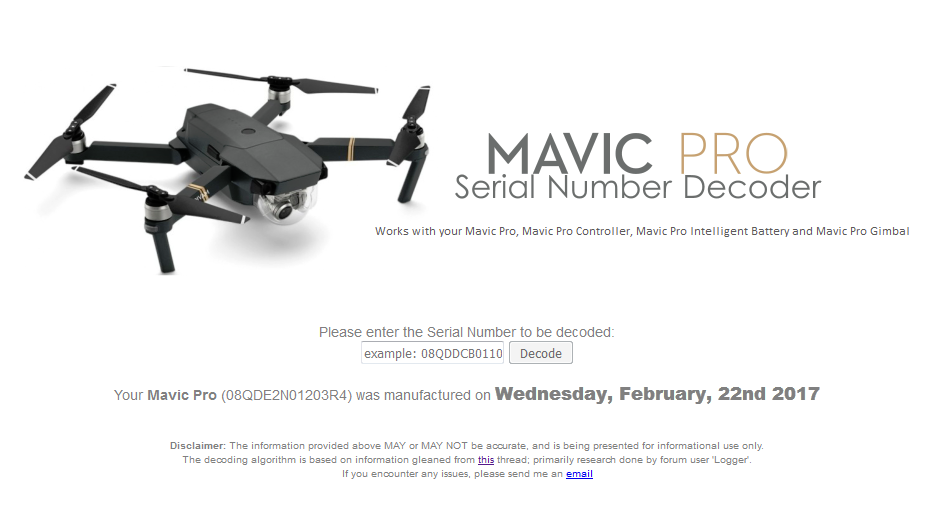 Decoder mavic serial